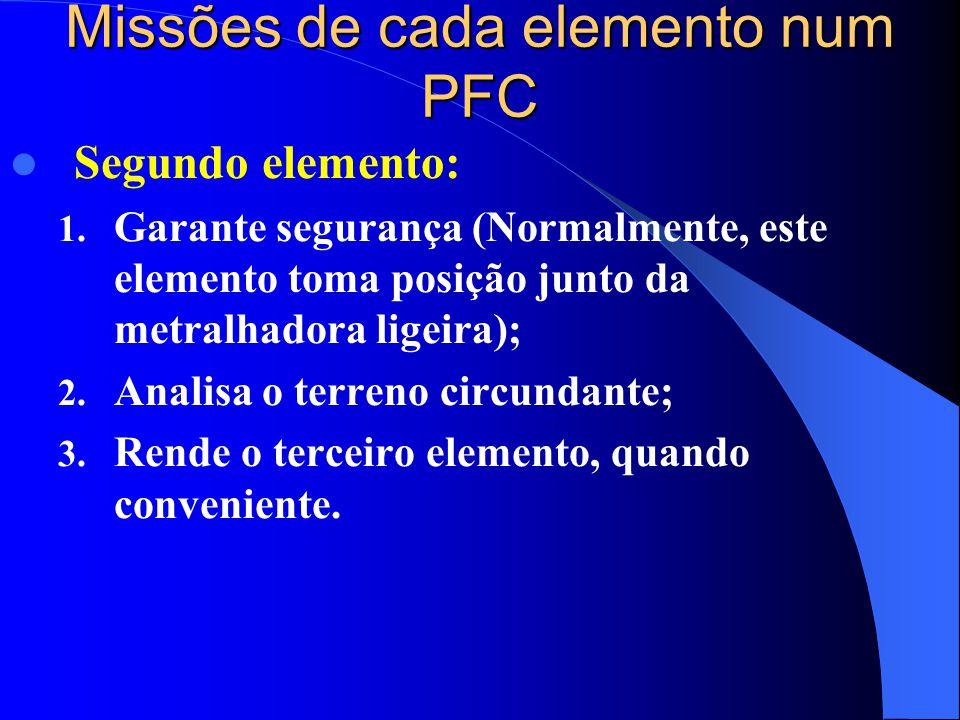  Segundo elemento: 1. Garante segurança (Normalmente, este elemento toma posição junto da metralhadora ligeira); 2. Analisa o terreno circundante; 3.