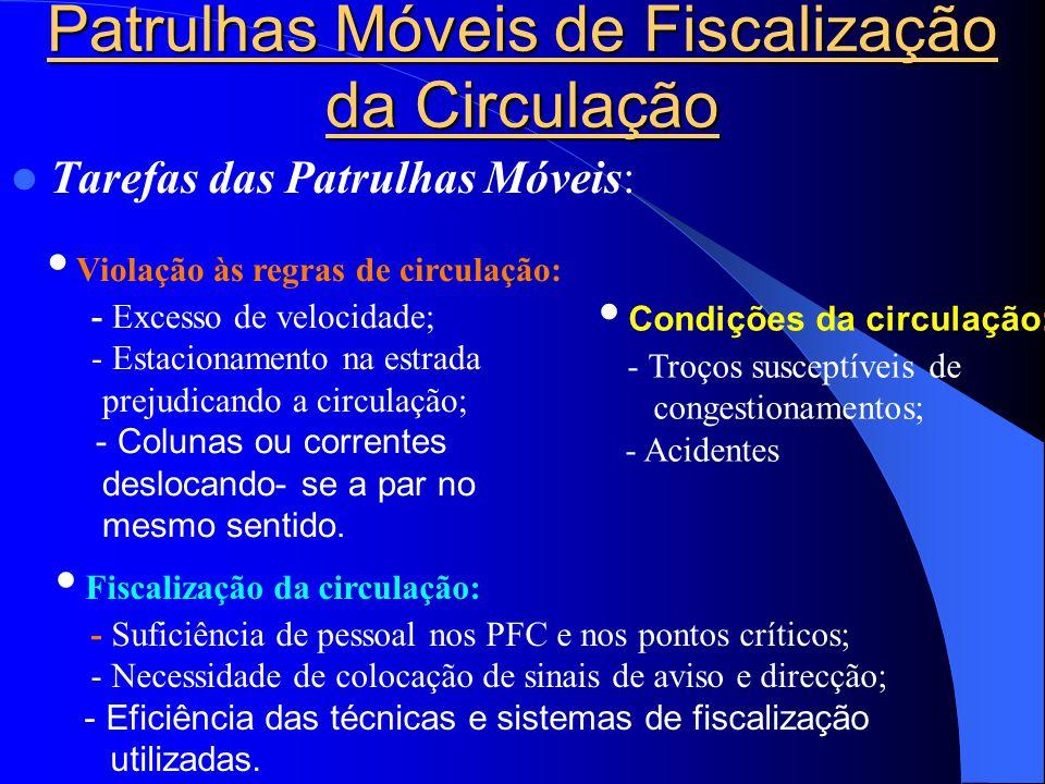 Patrulhas Móveis de Fiscalização da Circulação  Tarefas das Patrulhas Móveis: • Violação às regras de circulação: - Excesso de velocidade; - Estacion