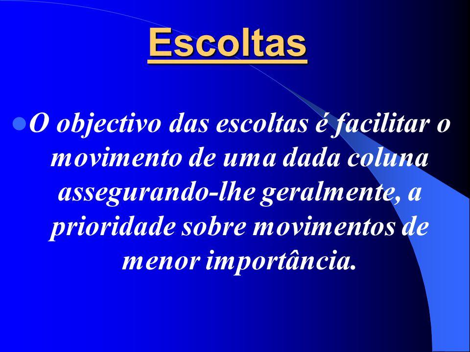 Escoltas  O objectivo das escoltas é facilitar o movimento de uma dada coluna assegurando-lhe geralmente, a prioridade sobre movimentos de menor importância.
