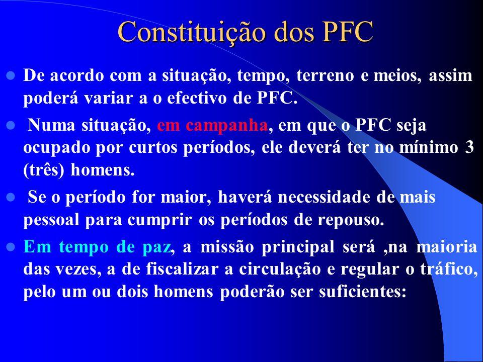 Constituição dos PFC  De acordo com a situação, tempo, terreno e meios, assim poderá variar a o efectivo de PFC.  Numa situação, em campanha, em que