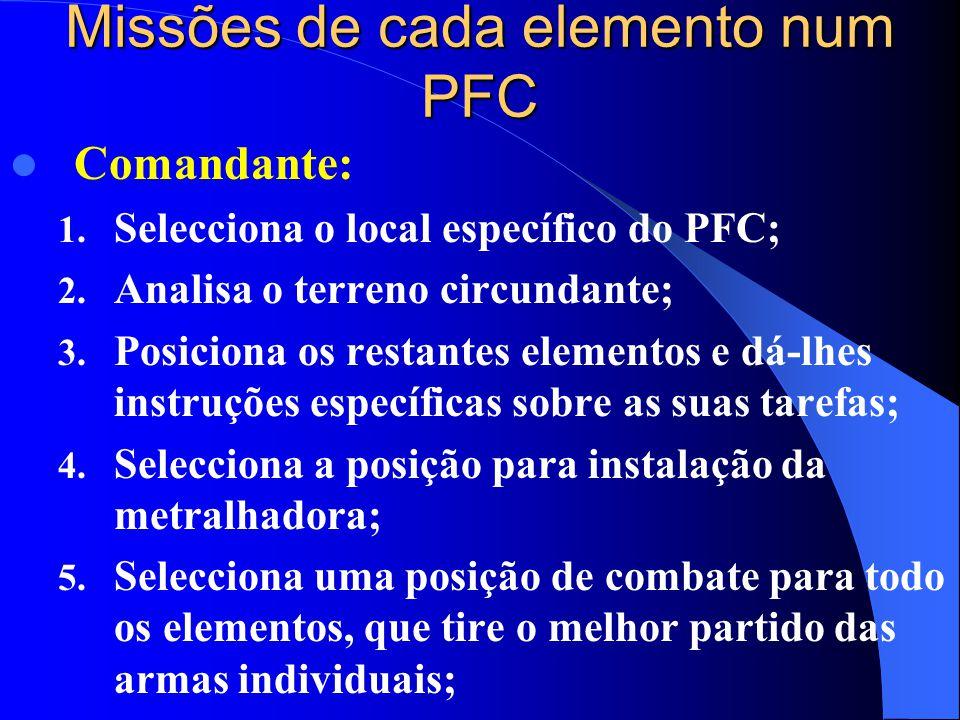 Missões de cada elemento num PFC  Comandante: 1. Selecciona o local específico do PFC; 2. Analisa o terreno circundante; 3. Posiciona os restantes el