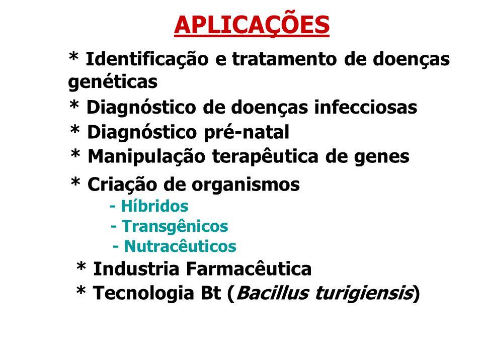 APLICAÇÕES * Identificação e tratamento de doenças genéticas * Diagnóstico de doenças infecciosas * Diagnóstico pré-natal * Manipulação terapêutica de