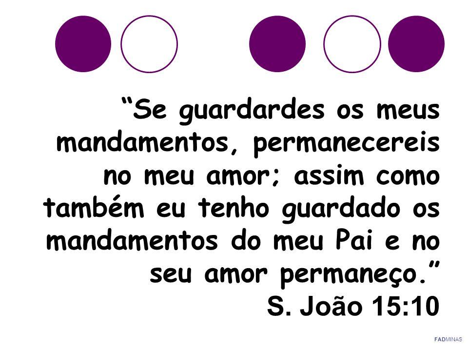"""""""Se guardardes os meus mandamentos, permanecereis no meu amor; assim como também eu tenho guardado os mandamentos do meu Pai e no seu amor permaneço."""""""