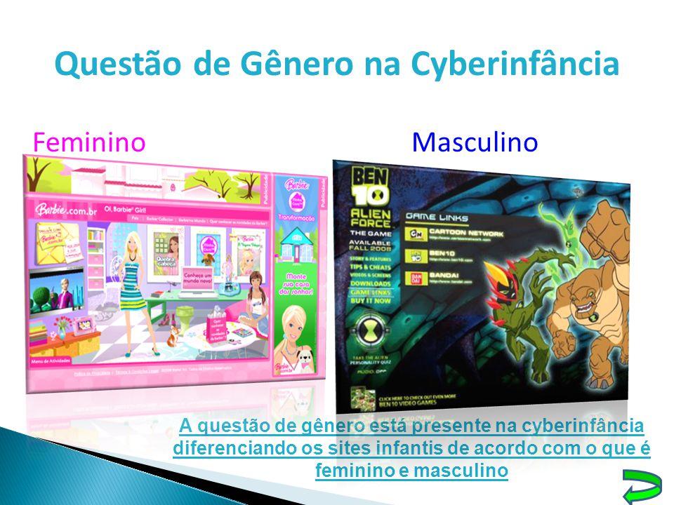 Questão de Gênero na Cyberinfância FemininoMasculino A questão de gênero está presente na cyberinfância diferenciando os sites infantis de acordo com