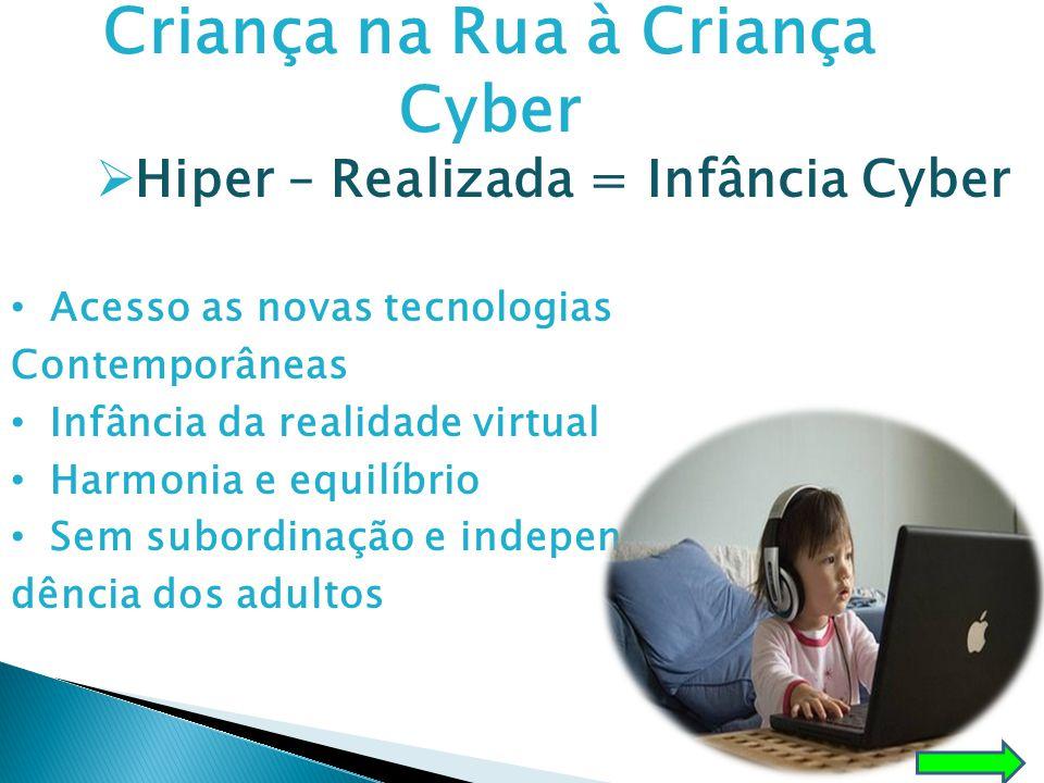 Criança na Rua à Criança Cyber  Hiper – Realizada = Infância Cyber • Acesso as novas tecnologias Contemporâneas • Infância da realidade virtual • Har