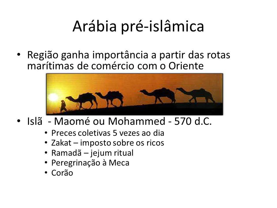 Arábia pré-islâmica • Região ganha importância a partir das rotas marítimas de comércio com o Oriente • Islã - Maomé ou Mohammed - 570 d.C. • Preces c