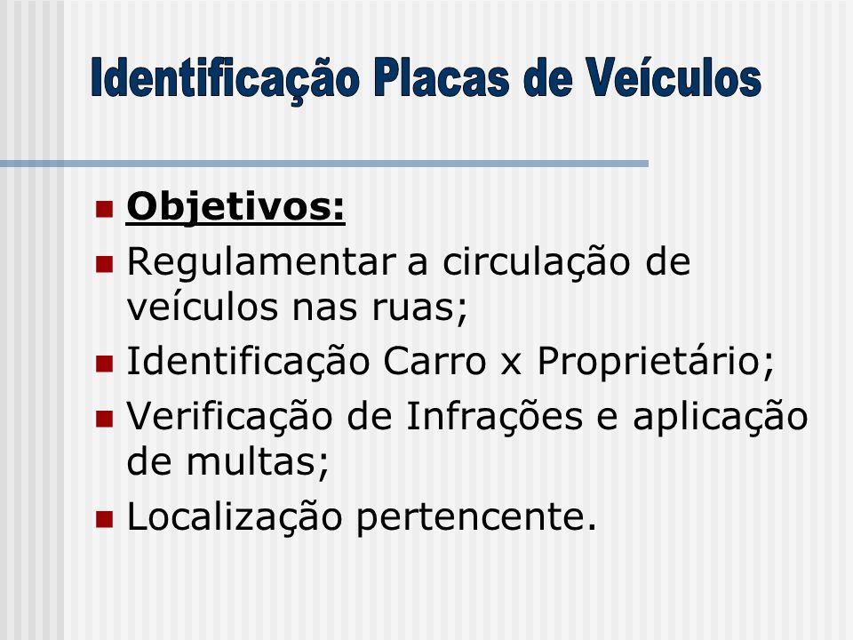  Objetivos:  Regulamentar a circulação de veículos nas ruas;  Identificação Carro x Proprietário;  Verificação de Infrações e aplicação de multas;