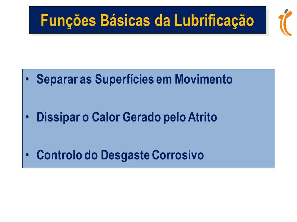 • Separar as Superfícies em Movimento • Dissipar o Calor Gerado pelo Atrito • Controlo do Desgaste Corrosivo Funções Básicas da Lubrificação