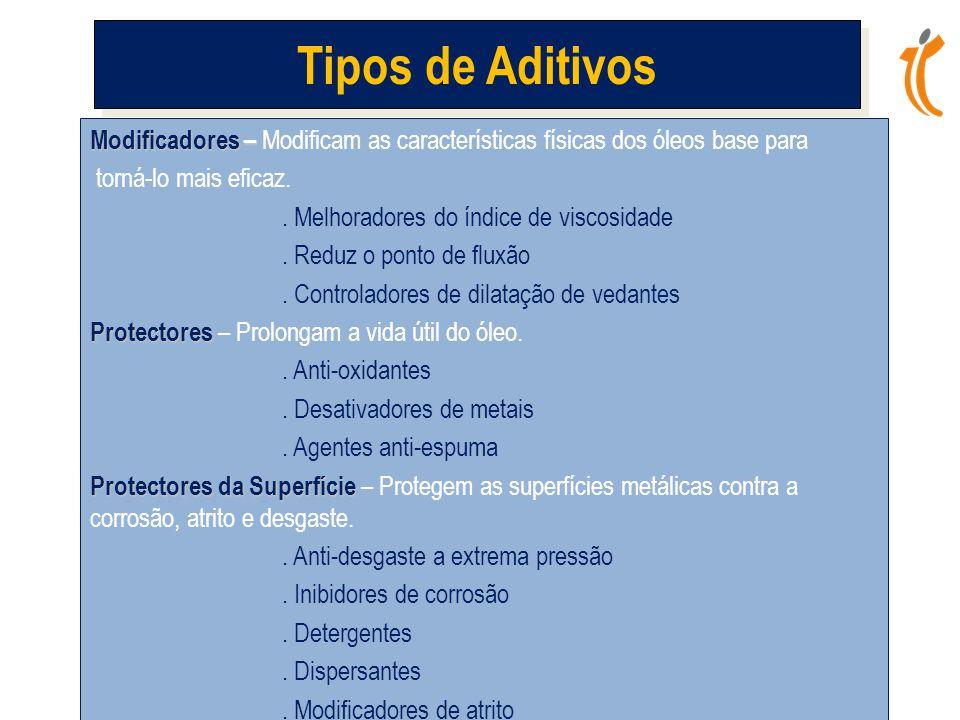 Modificadores – Modificadores – Modificam as características físicas dos óleos base para torná-lo mais eficaz..