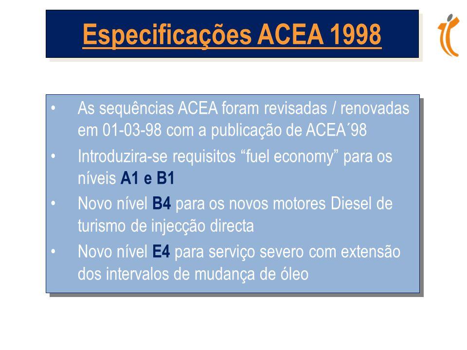 •As sequências ACEA foram revisadas / renovadas em 01-03-98 com a publicação de ACEA´98 •Introduzira-se requisitos fuel economy para os níveis A1 e B1 •Novo nível B4 para os novos motores Diesel de turismo de injecção directa •Novo nível E4 para serviço severo com extensão dos intervalos de mudança de óleo •As sequências ACEA foram revisadas / renovadas em 01-03-98 com a publicação de ACEA´98 •Introduzira-se requisitos fuel economy para os níveis A1 e B1 •Novo nível B4 para os novos motores Diesel de turismo de injecção directa •Novo nível E4 para serviço severo com extensão dos intervalos de mudança de óleo Especificações ACEA 1998