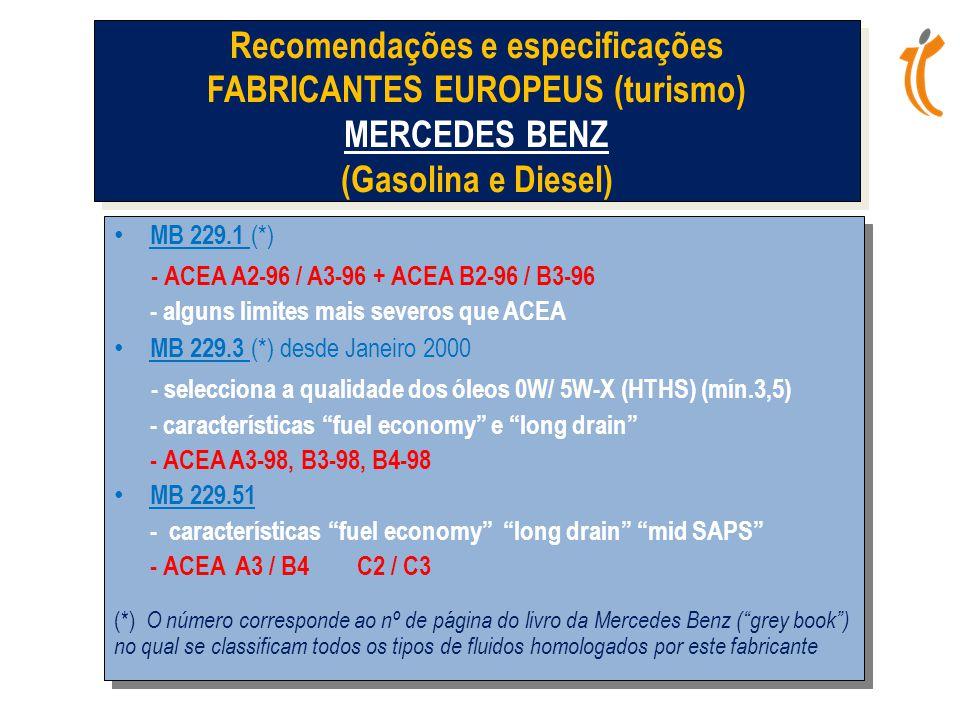 • MB 229.1 (*) - ACEA A2-96 / A3-96 + ACEA B2-96 / B3-96 - alguns limites mais severos que ACEA • MB 229.3 (*) desde Janeiro 2000 - selecciona a qualidade dos óleos 0W/ 5W-X (HTHS) (mín.3,5) - características fuel economy e long drain - ACEA A3-98, B3-98, B4-98 • MB 229.51 - características fuel economy long drain mid SAPS - ACEA A3 / B4 C2 / C3 (*) O número corresponde ao nº de página do livro da Mercedes Benz ( grey book ) no qual se classificam todos os tipos de fluidos homologados por este fabricante • MB 229.1 (*) - ACEA A2-96 / A3-96 + ACEA B2-96 / B3-96 - alguns limites mais severos que ACEA • MB 229.3 (*) desde Janeiro 2000 - selecciona a qualidade dos óleos 0W/ 5W-X (HTHS) (mín.3,5) - características fuel economy e long drain - ACEA A3-98, B3-98, B4-98 • MB 229.51 - características fuel economy long drain mid SAPS - ACEA A3 / B4 C2 / C3 (*) O número corresponde ao nº de página do livro da Mercedes Benz ( grey book ) no qual se classificam todos os tipos de fluidos homologados por este fabricante Recomendações e especificações FABRICANTES EUROPEUS (turismo) MERCEDES BENZ (Gasolina e Diesel)