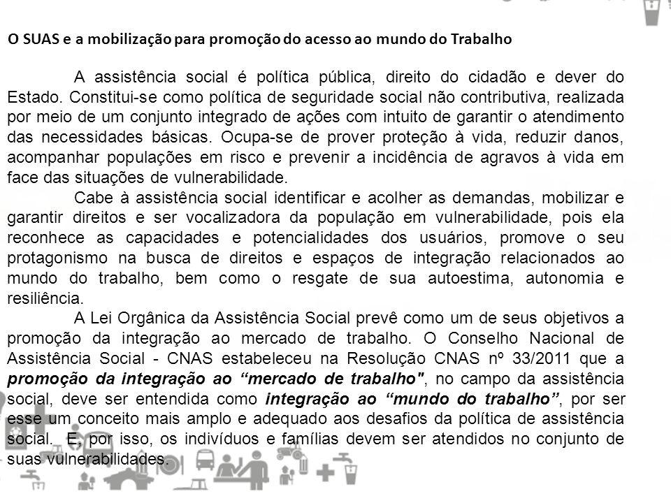 O SUAS e a mobilização para promoção do acesso ao mundo do Trabalho A assistência social é política pública, direito do cidadão e dever do Estado. Con