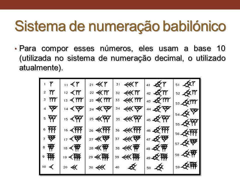 Sistema de numeração babilónico • Para compor esses números, eles usam a base 10 (utilizada no sistema de numeração decimal, o utilizado atualmente).