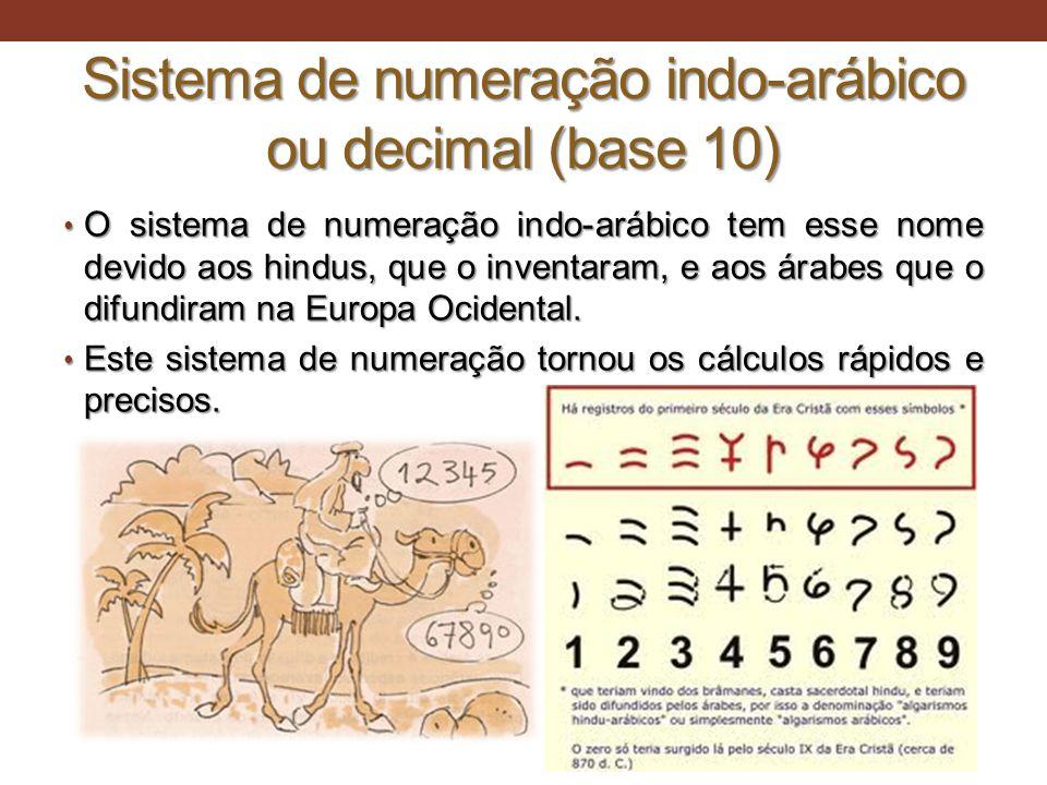 Sistema de numeração indo-arábico ou decimal (base 10) • O sistema de numeração indo-arábico tem esse nome devido aos hindus, que o inventaram, e aos