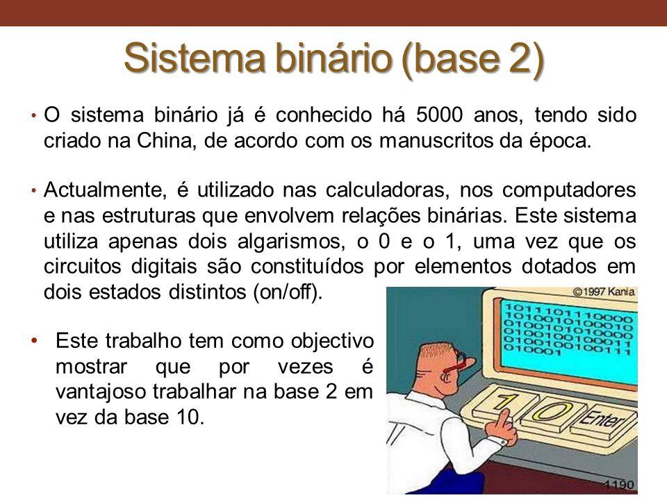 Sistema binário (base 2) • O sistema binário já é conhecido há 5000 anos, tendo sido criado na China, de acordo com os manuscritos da época. • Actualm