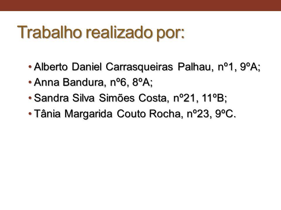 Trabalho realizado por: •Alberto Daniel Carrasqueiras Palhau, nº1, 9ºA; •Anna Bandura, nº6, 8ºA; •Sandra Silva Simões Costa, nº21, 11ºB; •Tânia Margar