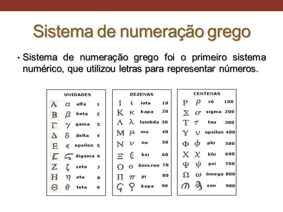 Sistema de numeração grego • Sistema de numeração grego foi o primeiro sistema numérico, que utilizou letras para representar números.