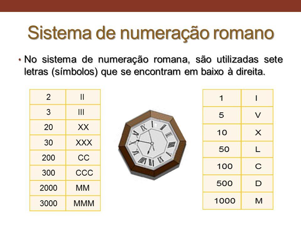 Sistema de numeração romano • No sistema de numeração romana, são utilizadas sete letras (símbolos) que se encontram em baixo à direita. • No sistema