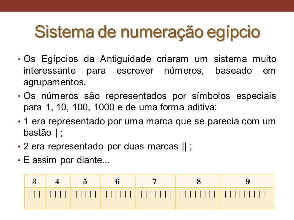Sistema de numeração egípcio • Os Egípcios da Antiguidade criaram um sistema muito interessante para escrever números, baseado em agrupamentos. • Os n