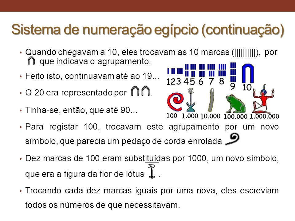 Sistema de numeração egípcio (continuação) • Quando chegavam a 10, eles trocavam as 10 marcas (||||||||||), por que indicava o agrupamento. • Feito is
