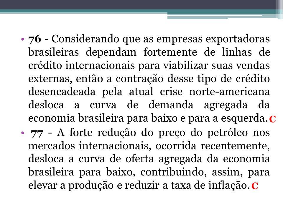 •76 - Considerando que as empresas exportadoras brasileiras dependam fortemente de linhas de crédito internacionais para viabilizar suas vendas extern