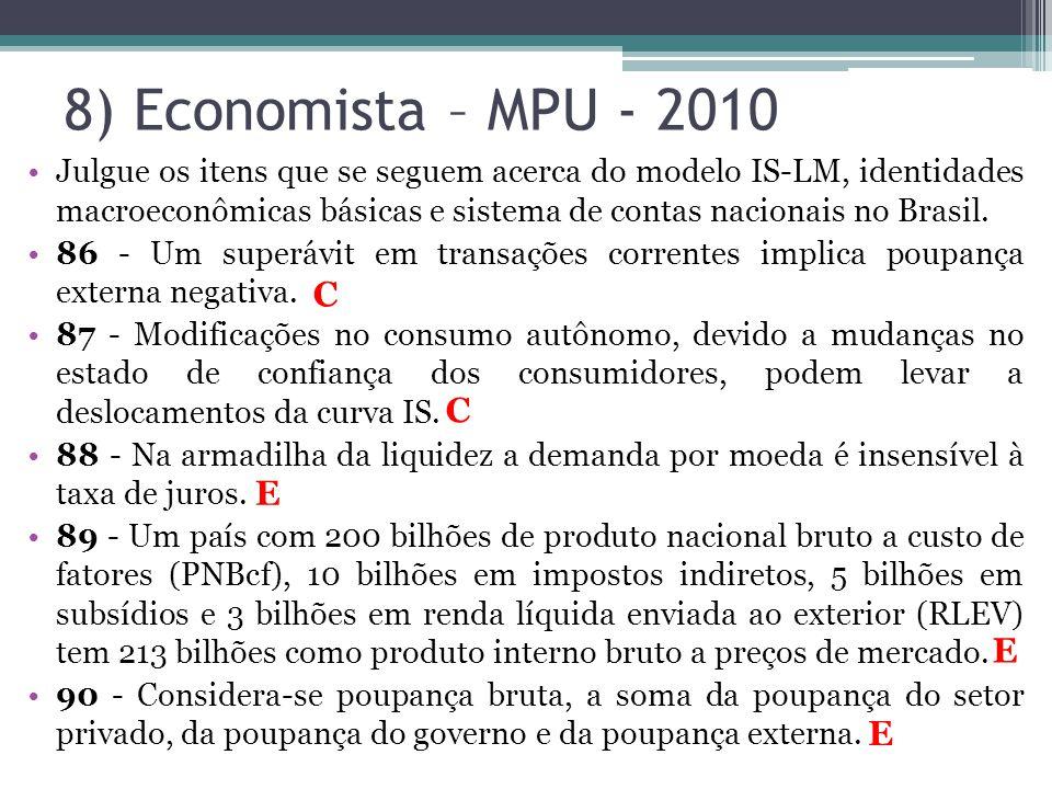 8) Economista – MPU - 2010 •Julgue os itens que se seguem acerca do modelo IS-LM, identidades macroeconômicas básicas e sistema de contas nacionais no