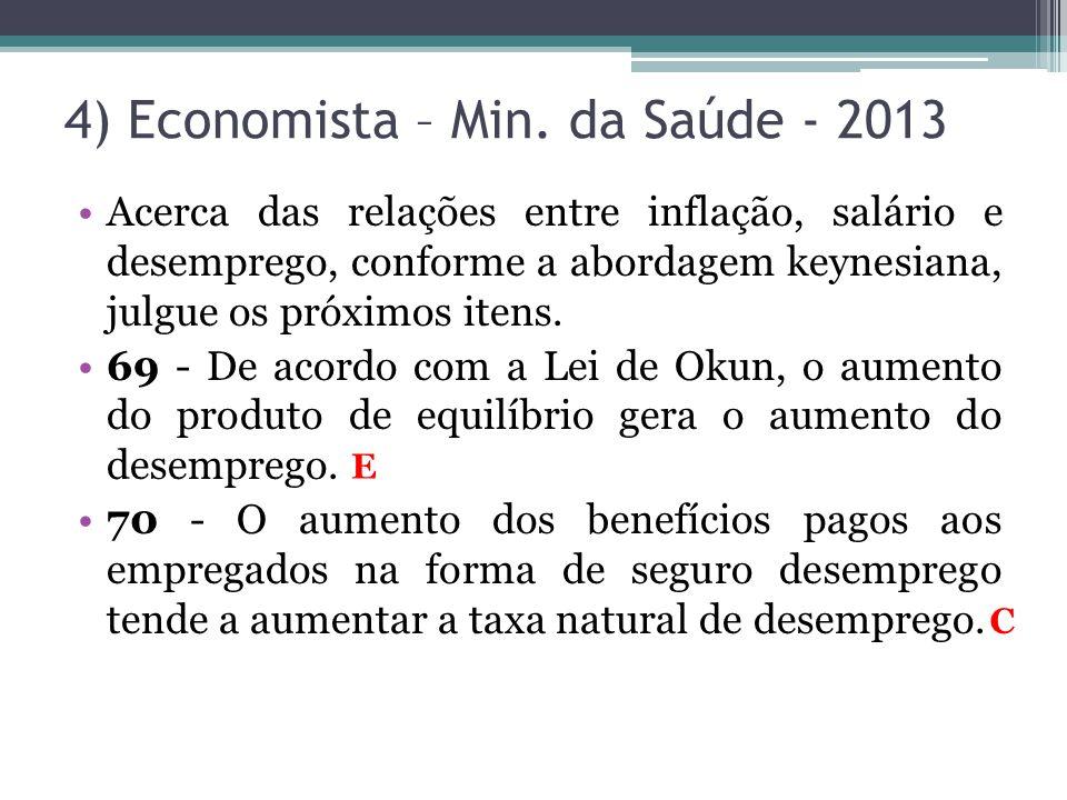 •Acerca das relações entre inflação, salário e desemprego, conforme a abordagem keynesiana, julgue os próximos itens. •69 - De acordo com a Lei de Oku