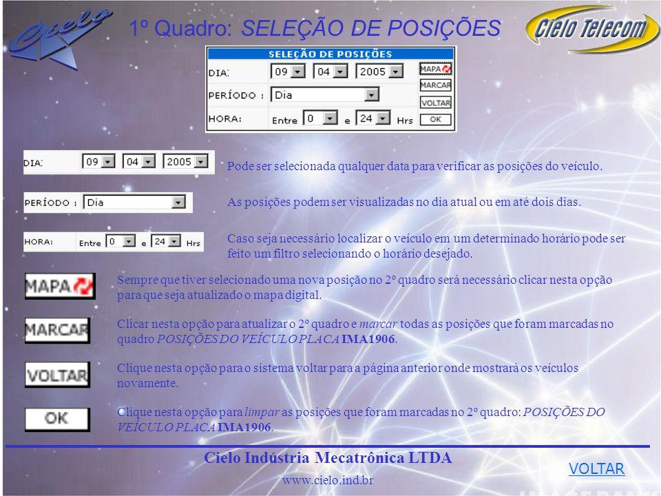 1º Quadro: SELEÇÃO DE POSIÇÕES Pode ser selecionada qualquer data para verificar as posições do veículo. As posições podem ser visualizadas no dia atu