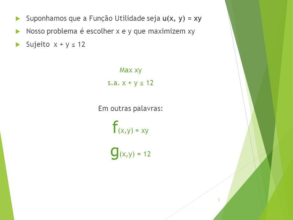  Suponhamos que a Função Utilidade seja u(x, y) = xy  Nosso problema é escolher x e y que maximizem xy  Sujeito x + y ≤ 12 Max xy s.a. x + y ≤ 12 E