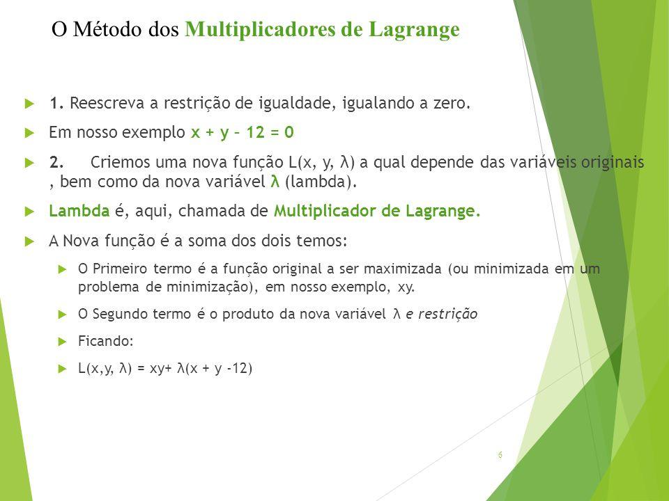 1. Reescreva a restrição de igualdade, igualando a zero.  Em nosso exemplo x + y – 12 = 0  2.Criemos uma nova função L(x, y, λ) a qual depende das