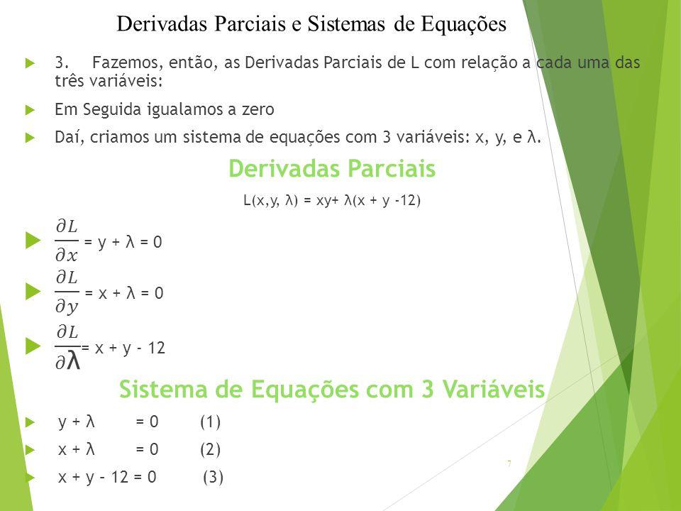 Resolvendo as Equações  Primeiro, levamos os temos contendo λ para o outro lado das equações respectivas.