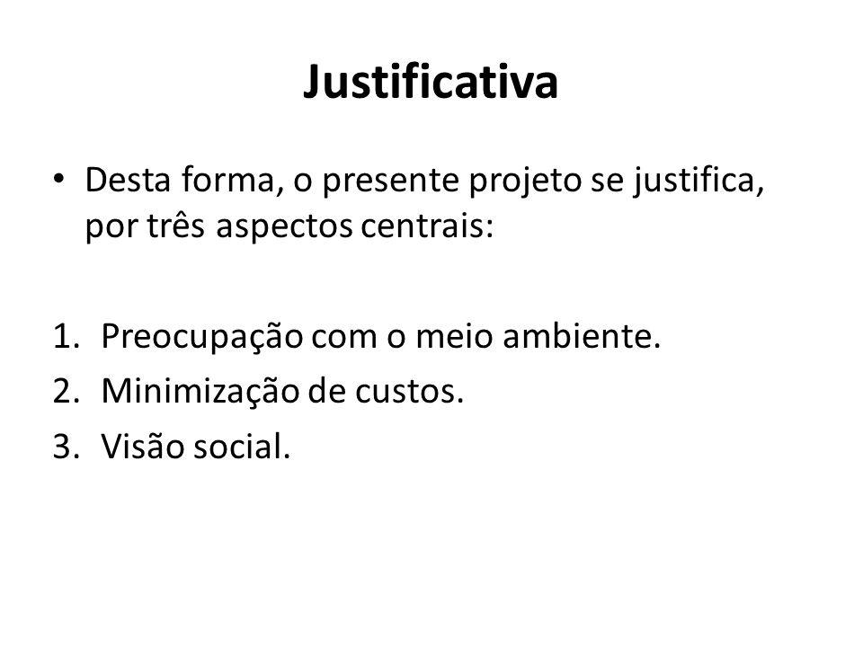 Justificativa • Desta forma, o presente projeto se justifica, por três aspectos centrais: 1.Preocupação com o meio ambiente. 2.Minimização de custos.
