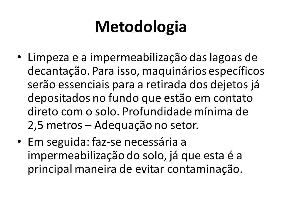 Metodologia • Limpeza e a impermeabilização das lagoas de decantação.