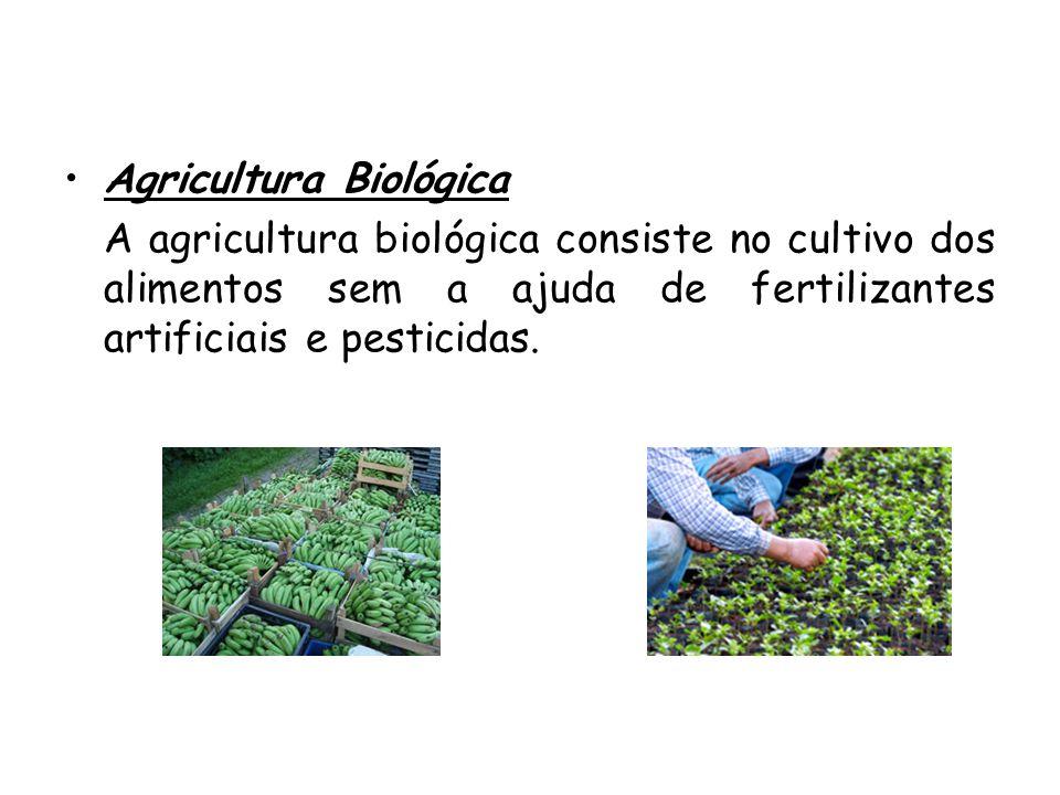 •Agricultura Biológica A agricultura biológica consiste no cultivo dos alimentos sem a ajuda de fertilizantes artificiais e pesticidas.