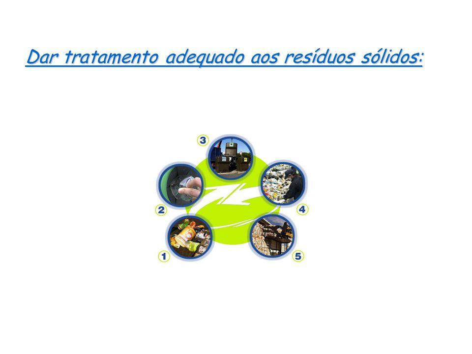 Dar tratamento adequado aos resíduos sólidos: