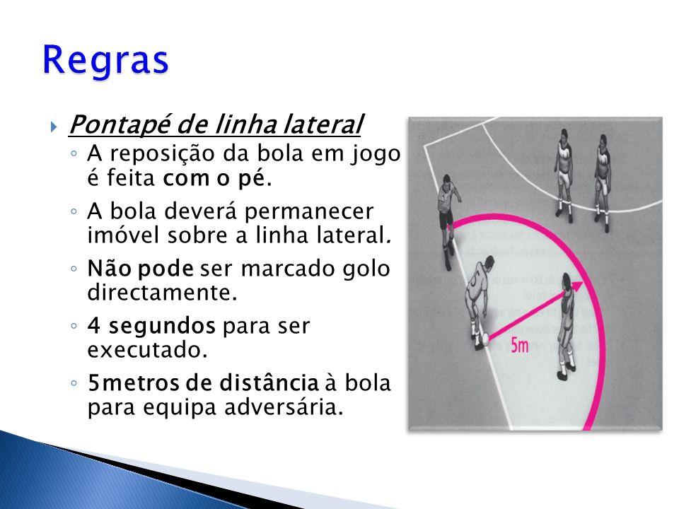  Pontapé de linha lateral ◦ A reposição da bola em jogo é feita com o pé. ◦ A bola deverá permanecer imóvel sobre a linha lateral. ◦ Não pode ser mar