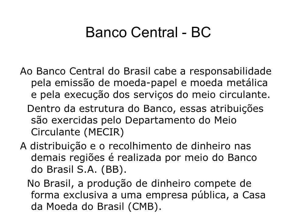 Banco Central - BC Ao Banco Central do Brasil cabe a responsabilidade pela emissão de moeda-papel e moeda metálica e pela execução dos serviços do meio circulante.