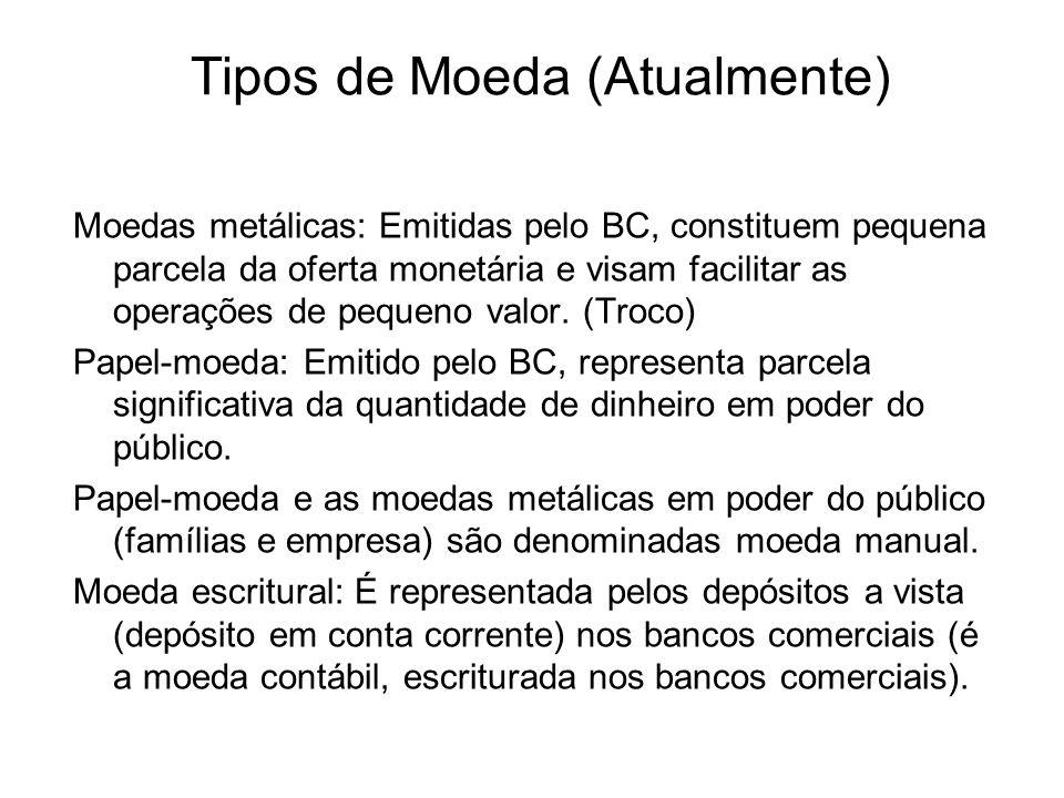 Tipos de Moeda (Atualmente) Moedas metálicas: Emitidas pelo BC, constituem pequena parcela da oferta monetária e visam facilitar as operações de pequeno valor.