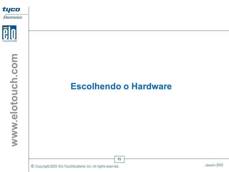 © Copyright 2003, Elo TouchSystems, Inc. All rights reserved. Janeiro 2003 www.elotouch.com 14 •As narrações podem falar ao cliente como navegar pela