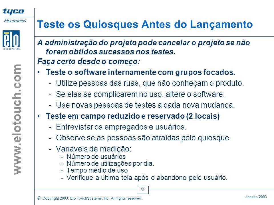 © Copyright 2003, Elo TouchSystems, Inc. All rights reserved. Janeiro 2003 www.elotouch.com 30 Instalação e Lançamento