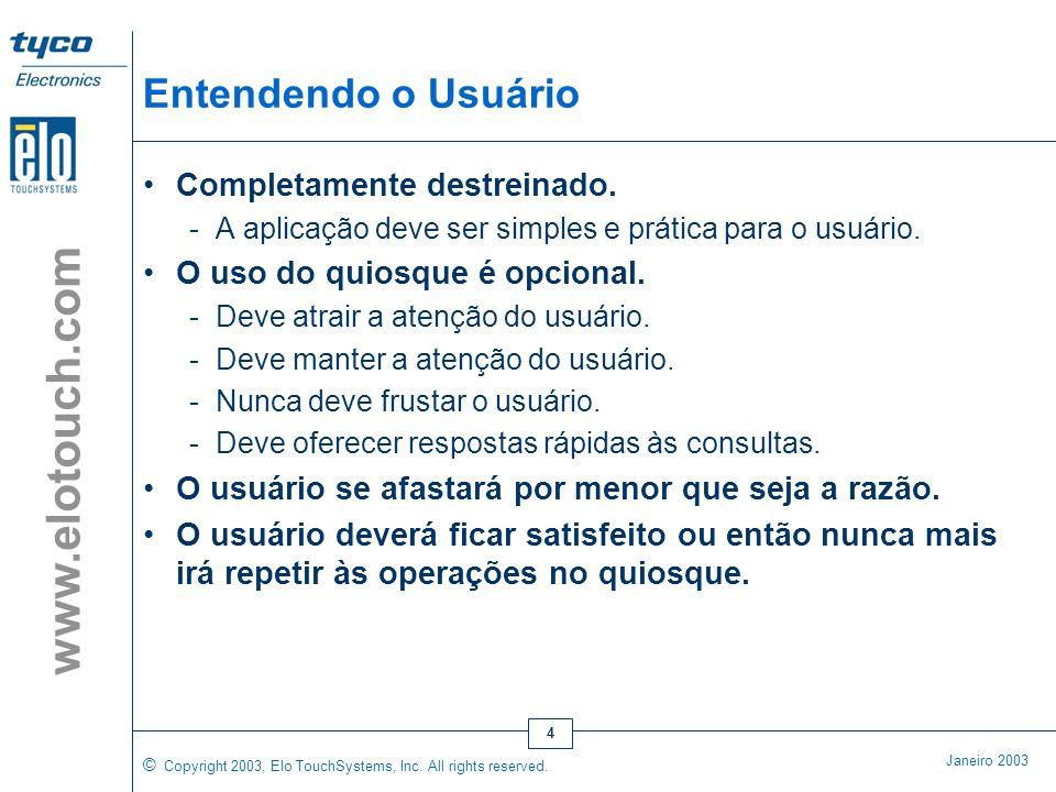 © Copyright 2003, Elo TouchSystems, Inc. All rights reserved. Janeiro 2003 www.elotouch.com 3 Não Basta Ter uma Boa Idéia ! As aplicações com quiosque