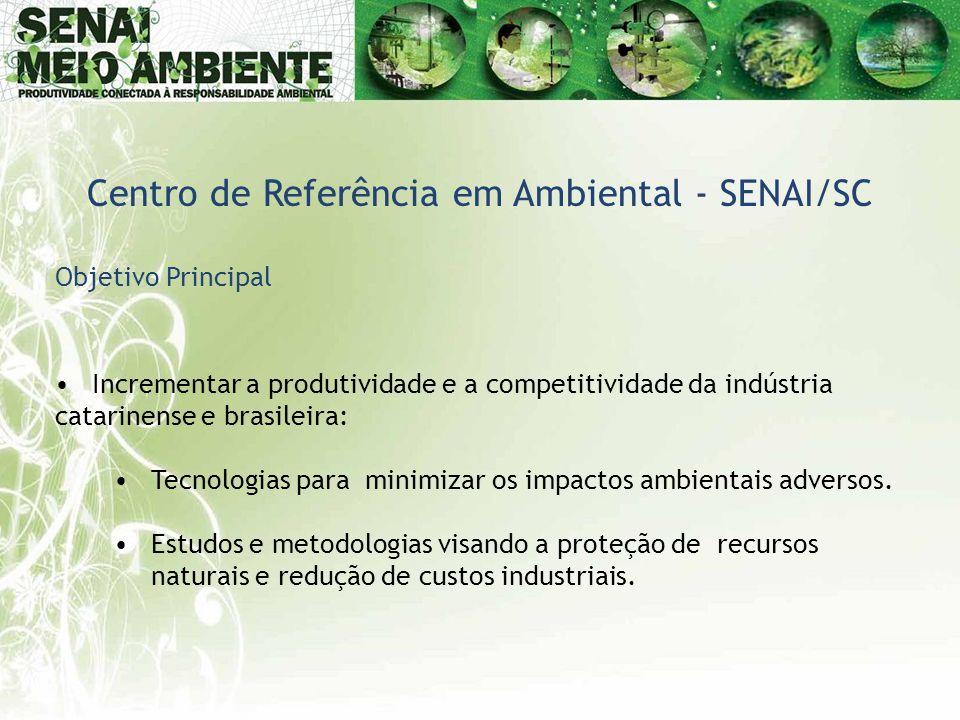 Objetivo Principal •Incrementar a produtividade e a competitividade da indústria catarinense e brasileira: •Tecnologias para minimizar os impactos amb
