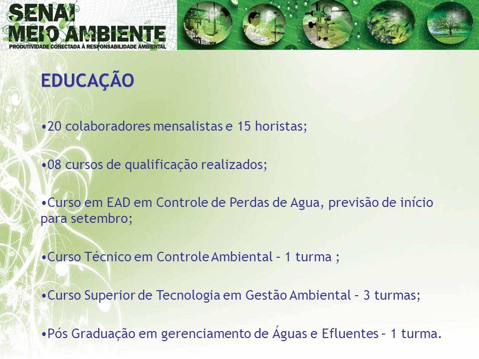 EDUCAÇÃO •20 colaboradores mensalistas e 15 horistas; •08 cursos de qualificação realizados; •Curso em EAD em Controle de Perdas de Agua, previsão de