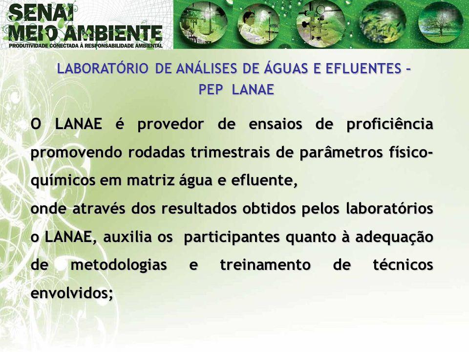 O LANAE é provedor de ensaios de proficiência promovendo rodadas trimestrais de parâmetros físico- químicos em matriz água e efluente, onde através do