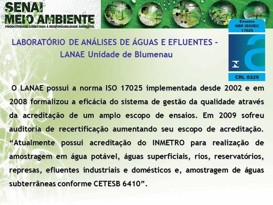O LANAE possui a norma ISO 17025 implementada desde 2002 e em 2008 formalizou a eficácia do sistema de gestão da qualidade através da acreditação de u