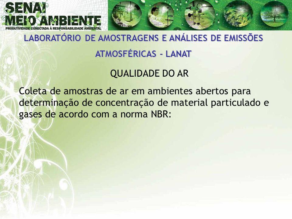 LABORATÓRIO DE AMOSTRAGENS E ANÁLISES DE EMISSÕES ATMOSFÉRICAS - LANAT QUALIDADE DO AR Coleta de amostras de ar em ambientes abertos para determinação