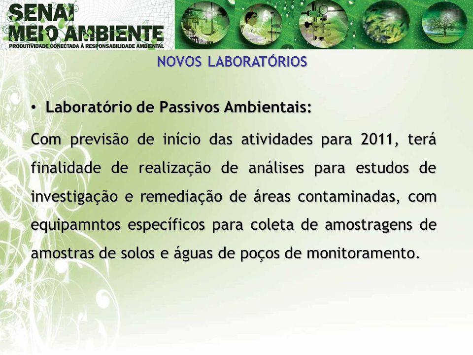 NOVOS LABORATÓRIOS • Laboratório de Passivos Ambientais: Com previsão de início das atividades para 2011, terá finalidade de realização de análises pa