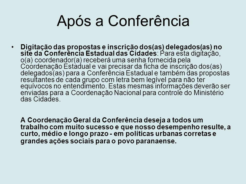 Após a Conferência •Digitação das propostas e inscrição dos(as) delegados(as) no site da Conferência Estadual das Cidades: Para esta digitação, o(a) c