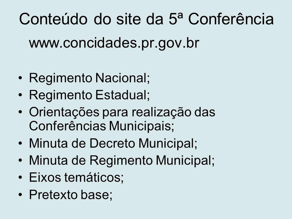 Conteúdo do site da 5ª Conferência www.concidades.pr.gov.br •Regimento Nacional; •Regimento Estadual; •Orientações para realização das Conferências Mu