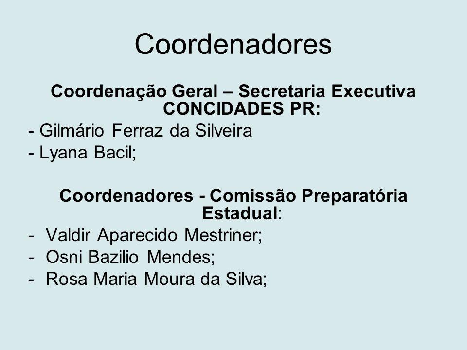 Coordenadores Coordenação Geral – Secretaria Executiva CONCIDADES PR: - Gilmário Ferraz da Silveira - Lyana Bacil; Coordenadores - Comissão Preparatór
